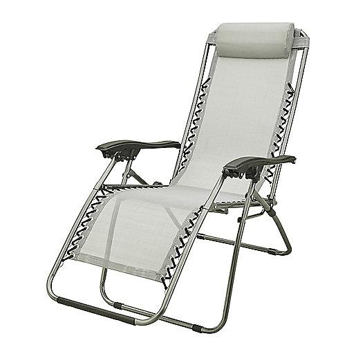 chaise pliante fauteuil de relaxation gris mc kinley intersport. Black Bedroom Furniture Sets. Home Design Ideas