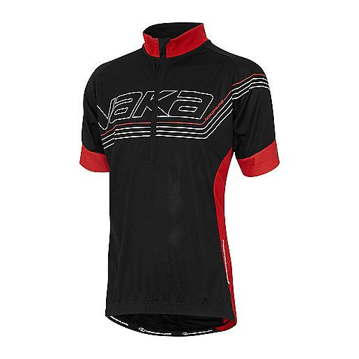 766b89e6a6f0e Maillot cycliste zippé manches courtes enfant Performance Line Noir-Rouge  2248249 NAKAMURA