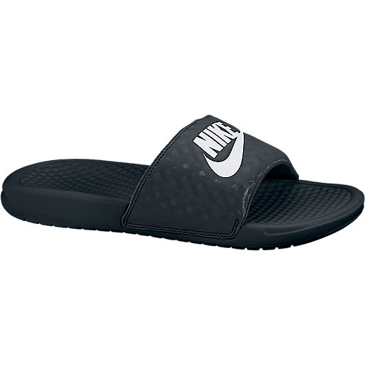 e14e6ab0ee3c Claquettes femme Benassi Just Do It Noir-Blanc 343881 NIKE