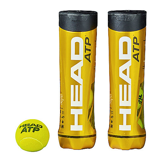 Lot de 2 tubes de 4 balles de tennis ATP multicolore 570741  HEAD